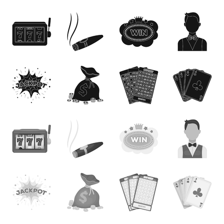 Jack sweat, a bag with money won, cards for playing Bingo, playing cards. Casino and gambling set collection icons in black,monochrome style vector symbol stock illustration web.