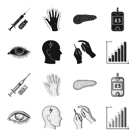 Poor vision, headache, glucose test, insulin dependence. Diabetic set collection icons in black,monochrome style vector symbol stock illustration web.