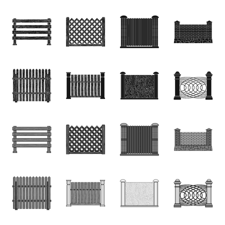 A fence of metal and bricks,wooden palisade. A different fence set collection icons in black,monochrome style vector symbol stock illustration web.