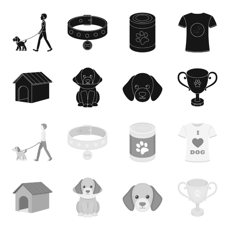 Dog house, protective collar, dog muzzle, cup. Dog set collection icons in black,monochrome style vector symbol stock illustration web.