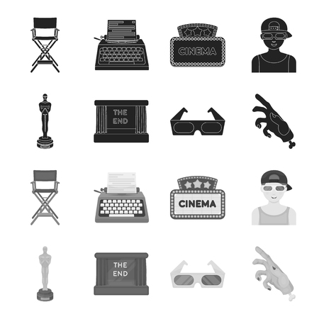 Award Oscar, movie screen, 3D glasses. Films and film set collection icons in black,monochrome style vector symbol stock illustration web.