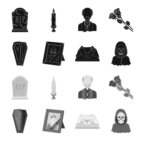 Coffin with a lid and a cross, a photograph of the deceased with a mourning ribbon, a corpse on the table with a tag in the morgue, death in a hood. Funeral ceremony set collection icons in black,monochrome style vector symbol stock illustration web.