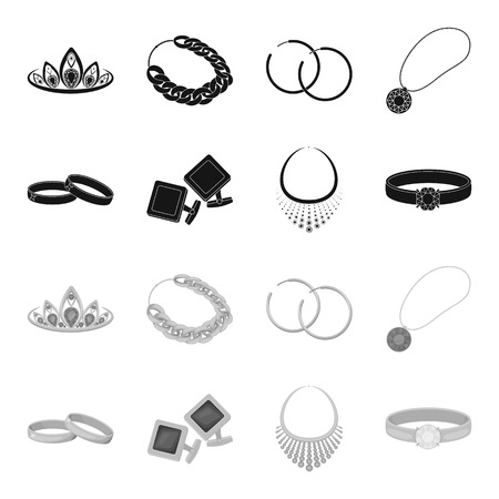 Wedding rings, cuff links, diamond necklace, women ring with a stone. Jewelery and accessories set collection icons in black,monochrome style vector symbol stock illustration web.