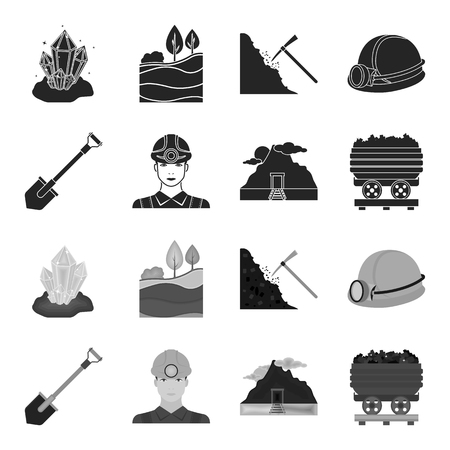 A shovel, a miner, an entrance to a mine, a trolley with coal.Mine set collection icons in black,monochrome style vector symbol stock illustration web. Vectores