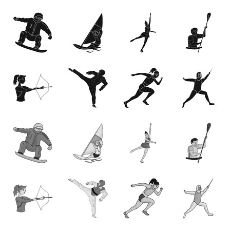 Archery, karate, running, fencing. sport set collection icons in black,monochrome style vector symbol stock illustration web.