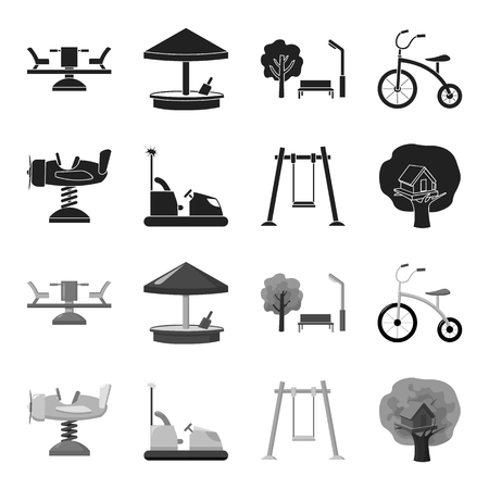 Airplane on a spring, swings and other equipment. Playground set collection icons in black,monochrome style vector symbol stock illustration web. Illustration