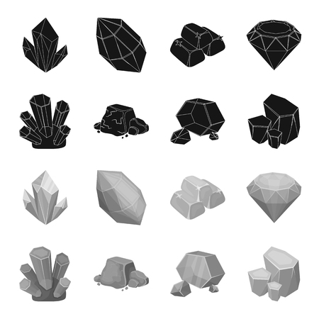 Crystals, iron ore. Precious minerals and a jeweler set collection icons in black,monochrome style vector symbol stock illustration web.