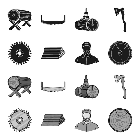 Circular saw, a working carpenter, a stack of logs. A sawmill and timber set collection icons in black,monochrome style vector symbol stock illustration web. Ilustrace