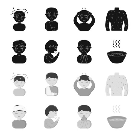 A man with a bandaged head, a man coughing, a man snorts a snot, a bowl, a bowl of hot broth into a handkerchief. Sick set collection icons in black,monochrome style vector symbol stock illustration web.