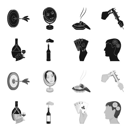 Bottle, a glass of wine and cheese, clogging with a corkscrew and other web icon in black,monochrome style. A combination of cards in hand, a person head and an idea generator icons in set collection.