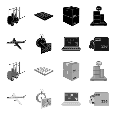 Transport aircraft, delivery on time, computer accounting, control and accounting of goods. Logistics and delivery set collection icons in black,monochrome style isometric vector symbol stock illustration web.