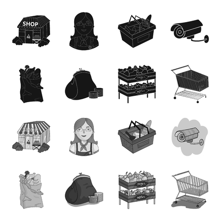 Sausages, fruit, cart .Supermarket set collection icons in black,monochrome style vector symbol stock illustration web.