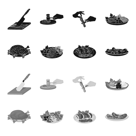 Fried chicken, vegetable salad, shish kebab with vegetables, fried sausages on a plate. Food and Cooking set collection icons in black,monochrome style vector symbol stock illustration web.