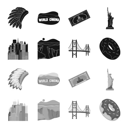 A megacity, a grand canyon, a golden gate bridge,donut with chocolate. The US country set collection icons in black,monochrome style vector symbol stock illustration web.