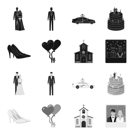 Wedding and Attributes black,monochrome icons in set collection for design.Newlyweds and Accessories vector symbol stock  illustration. Иллюстрация