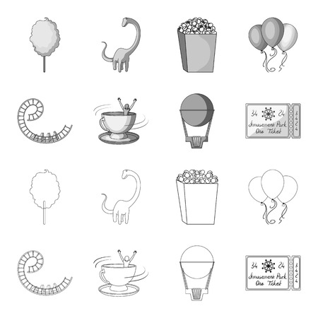 Roller coaster ride, balloon with basket, caruelle cup, ticket to the entrance to the park. Amusement park set collection icons in outline,monochrome style vector symbol stock illustration .
