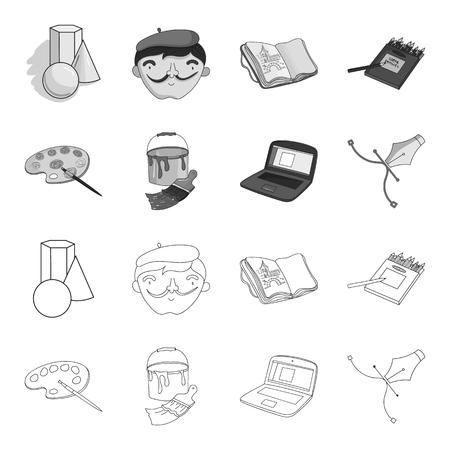 Una paleta con un pincel, un cubo con un pincel, una computadora, una herramienta, un bolígrafo. Artista y dibujo conjunto de iconos de colección en contorno, estilo monocromo símbolo ilustración vectorial de stock.