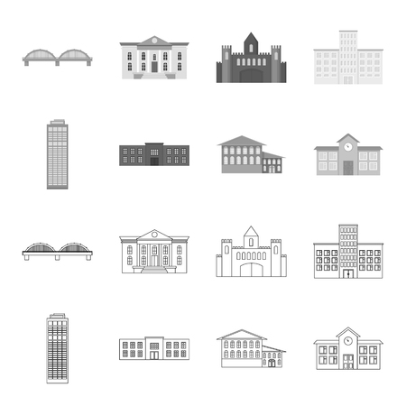 Skyscraper, police, hotel, school.Building set collection icons in outline,monochrome style vector symbol stock illustration .