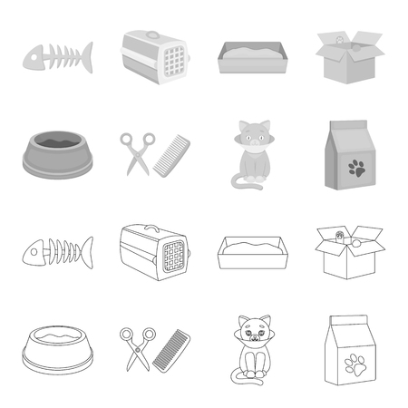 A bowl with food, a haircut for a cat, a sick cat, a package of feeds. at set collection icons in outline,monochrome style vector symbol stock illustration . Illustration