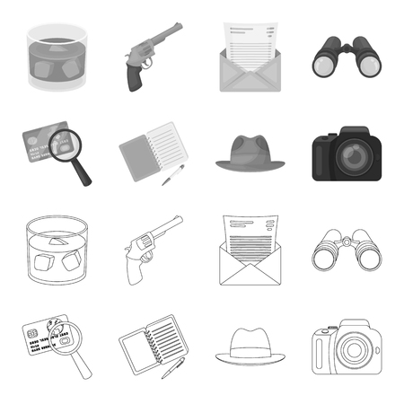 Camera, magnifier, hat, notebook with pen.Detective set collection icons in outline,monochrome style vector symbol stock illustration . Illustration