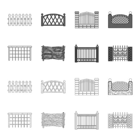 A fence of metal and bricks,wooden palisade. A different fence set collection icons in outline,monochrome style vector symbol stock illustration .