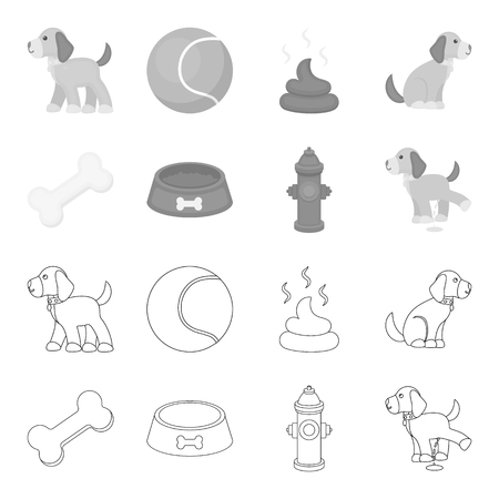 A bone, a fire hydrant, a bowl of food, a pissing dog.Dog set collection icons in outline,monochrome style vector symbol stock illustration .