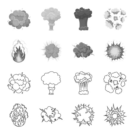 Flame, sparks, hydrogen fragments, atomic or gas explosion, thunderstorm, solar explosion. Explosions set collection icons in outline,monochrome style vector symbol stock illustration . Ilustração