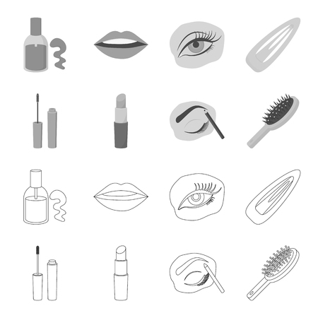 Mascara, hairbrush, lipstick, eyebrow pencil,Makeup set collection icons in outline,monochrome style vector symbol stock illustration .