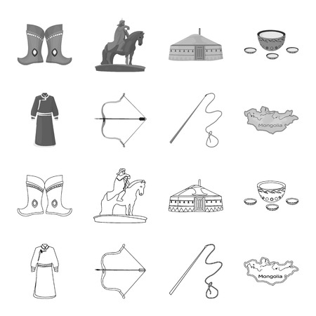 .mongol dressing gown, battle bow, theria on the map, Urga, Khlyst. Mongolia set collection icons in outline,monochrome style vector symbol stock illustration .