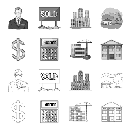 Calculator, dollar sign, new building, real estate offices. Realtor set collection icons in outline,monochrome style vector symbol stock illustration . Illustration