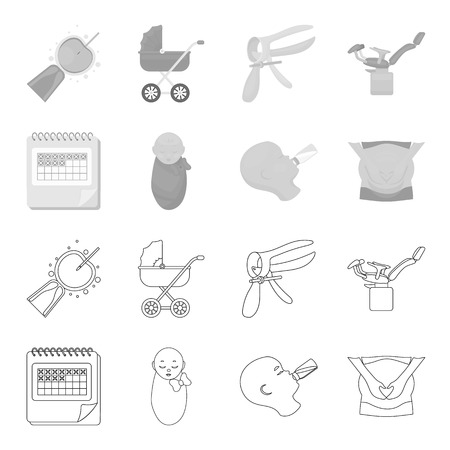 Calendar, newborn, stomach massage, artificial feeding. Pregnancy set collection icons in outline,monochrome style vector symbol stock illustration . Illustration