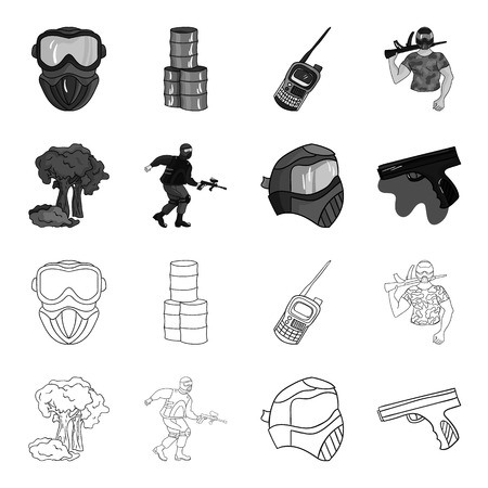 Mask, gun, paint, inventory .Paintball set collection icons in outline,monochrome style vector symbol stock illustration .