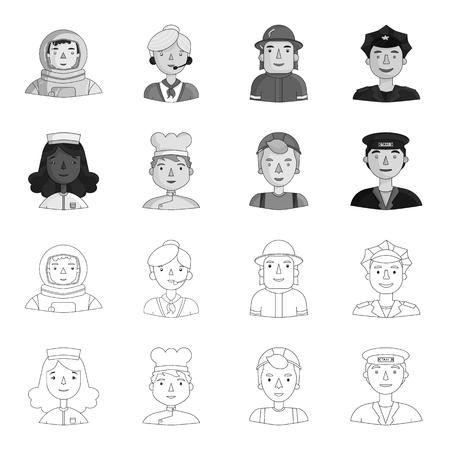 Enfermera, cocinera, constructora, taxista. Personas de diferentes profesiones establecen los iconos de la colección en contorno, estilo monocromo símbolo ilustración vectorial de stock.