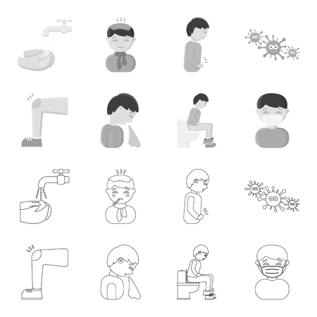 A foot with a bruise in the knee, sneezing sick, a man sitting on the toilet, a man in a medical mask. Sick set collection icons in outline,monochrome style vector symbol stock illustration .