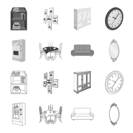Coffee maker, served table in the restaurant and other  icon in outline,monochrome style isometric.Soft comfortable sofa, wall mirror icons in set collection.