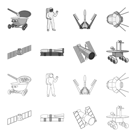 The space station in orbit, the preparation of the launch rocket, the lunar rover on the surface. Space technology set collection icons in outline,monochrome style vector symbol stock illustration .