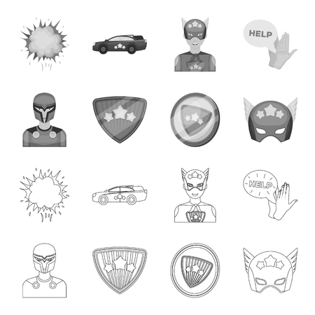 Man, mask, cloak, and other  icon in outline,monochrome style.Costume, superman, superforce icons in set collection