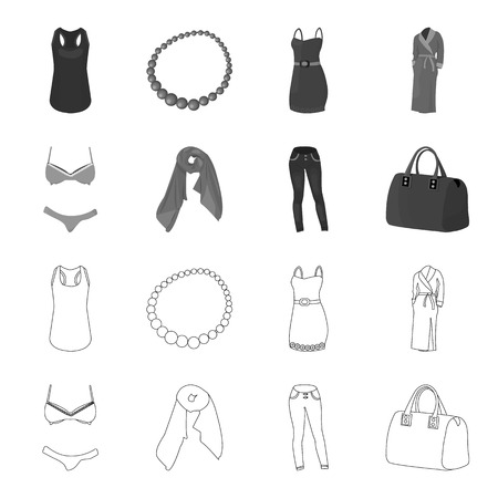 BH met korte broek, een damessjaal, een legging, een tas met handvatten. Dameskleding collectie iconen in de tekenfilm, zwart, vlakke stijl vector symbool stock illustratie web instellen.