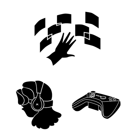 A virtual reality black icons in set collection for design. Modern technology and equipment vector symbol stock web illustration.
