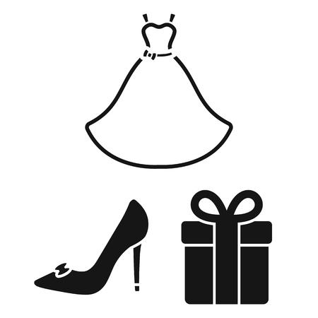 デザインのためのセットコレクションの結婚式と属性黒のアイコン。新婚とアクセサリーベクトルシンボルの株式ウェブイラスト。