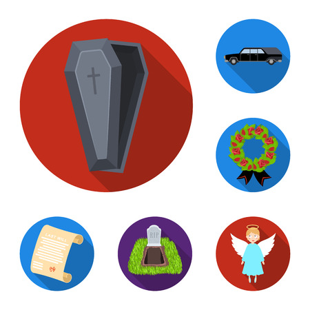 Funeral ceremony flat icons in set collection for design. Funerals and Attributes vector symbol stock web illustration. Vectores
