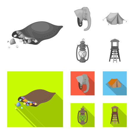 A bag of diamonds, an elephant head, a kerosene lamp, a tent. African safari set collection icons in monochrome,flat style vector symbol stock illustration web. Illustration