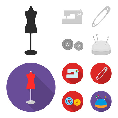Electric sewing machine, dummy on the stand, pin, buttons.Atelier set collection icons in monochrome,flat style vector symbol stock illustration web. 일러스트