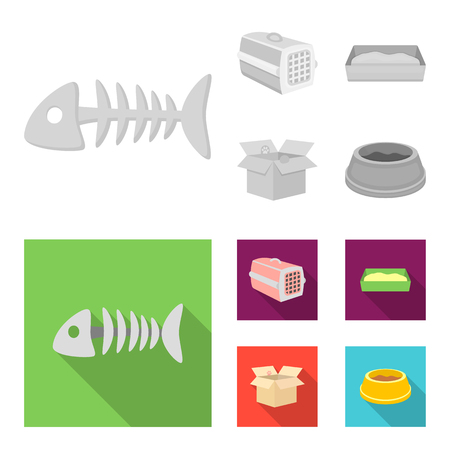 Fish bone, container for an animal, cat toilet, cat in a box. Cat set collection icons in monochrome,flat style vector symbol stock illustration web. Ilustração