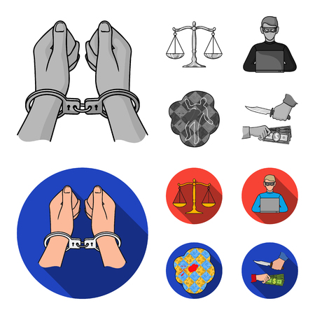 Handcuffs, scales of justice, hacker, crime scene.Crime set collection icons in monochrome,flat style vector symbol stock illustration web.