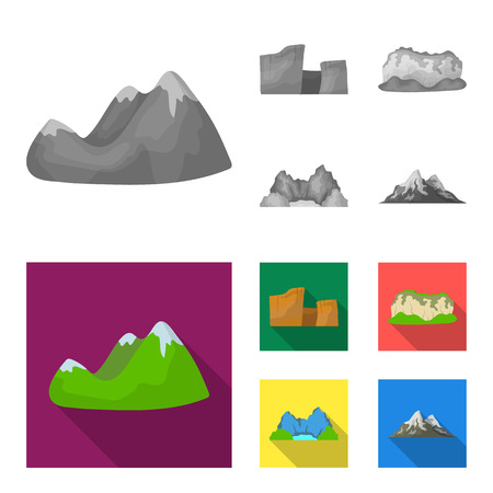 Green mountains with snow tops, a canyon, rocks with forests, a lagoon and rocks. Different mountains set collection icons in monochrome,flat style vector symbol stock illustration web.  イラスト・ベクター素材