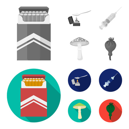 Cigarettes, a syringe, a galoyucinogenic fungus, heroin in a spoon.Drug set collection icons in monochrome,flat style vector symbol stock illustration web.