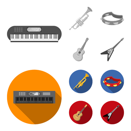 Electro organ, trumpet, tambourine, string guitar. Musical instruments set collection icons in monochrome,flat style vector symbol stock illustration web. Illustration