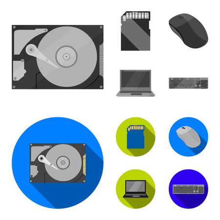 Computer mouse, laptop and other equipment. Personal computer set collection icons in monochrome,flat style vector symbol stock illustration web.