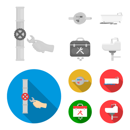 Water meter, bath and other equipment.Plumbing set collection icons in monochrome,flat style vector symbol stock illustration web.